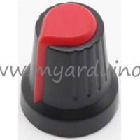 Přístrojový knoflík Černo Červený na potenciometr