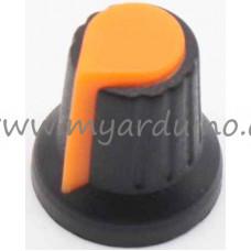 Přístrojový knoflík Černo Oranžový na potenciometr