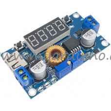 Měnič DC-DC Down 5-36V na 1,25-32V/5A XL4015 s multimetrem a USB